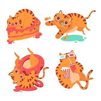 Коллекция наклеек берни кота рисованной