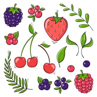손으로 그린 딸기는 흰색 배경에 설정됩니다.