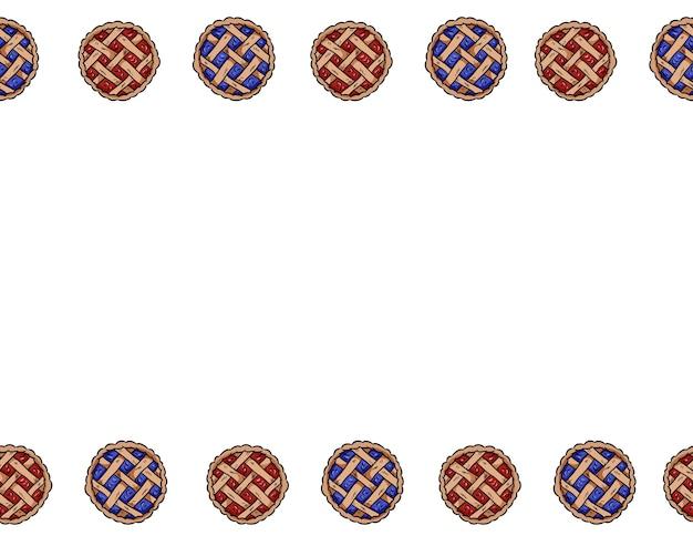 手描きのベリーパイのベクトルのアウトラインは、シームレスな境界線のパターンを落書きします。かわいいカラフルなペストリーの上面図おいしいパン屋のバナーのモックアップ。レター形式の装飾背景テクスチャタイル。テキスト用のスペース