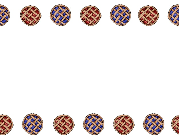 Hand drawn berry pies vector outline doodles seamless border pattern. cute colorful pastry top view tasty bakery banner mock up. letter format decoration background texture tile. space for your text