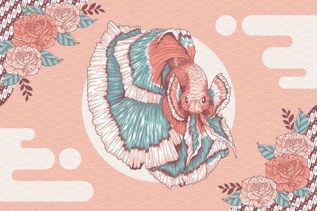 Hand drawn betta fish on batik