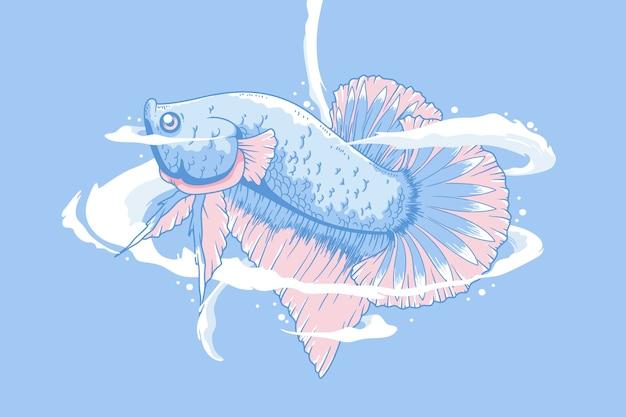 手描きベタ魚イラスト背景