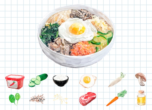 Hand drawn bibimbap watercolor style