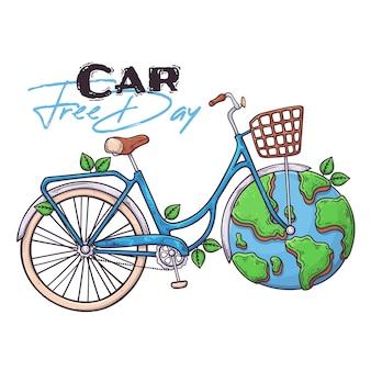 世界のカーフリーデーのシンボルとしての手描き自転車。