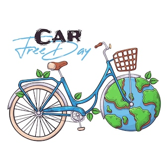 Hand drawn bicycle as a symbol of world car free day .