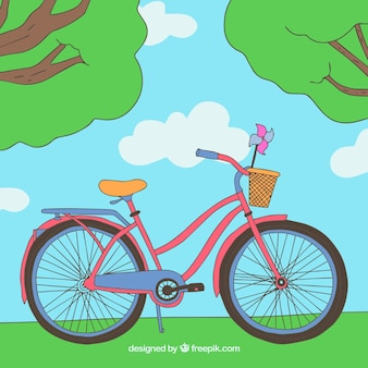 공원에서 손으로 그린 자전거 배경