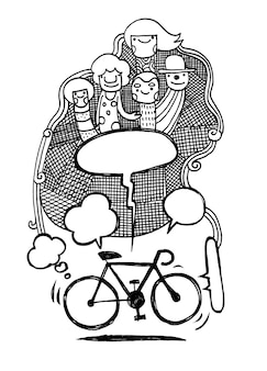 Hand drawn bicycle concept illustration.text bubble.doodle
