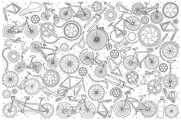 Hand drawn bicycles shop set