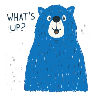 Hand drawn big bear for t shirt