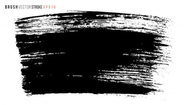 手描きの大きなブラシの汚れ。モノクロインクでペイントされたストローク。