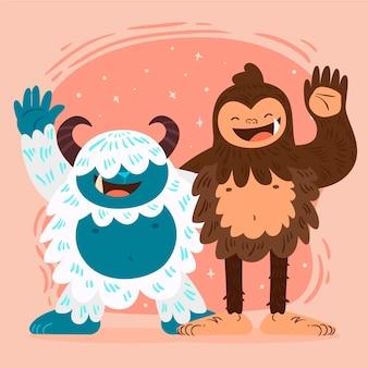 手描きのビッグフットサスカッチとイエティの忌まわしい雪だるまのイラスト