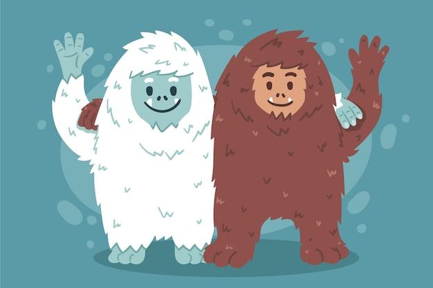 Нарисованный от руки снежный человек снежного человека и восхитительная иллюстрация снеговика йети