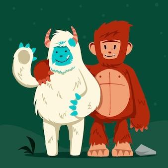 手描きのビッグフットサスカッチとイエティ優勢な雪だるまのイラスト