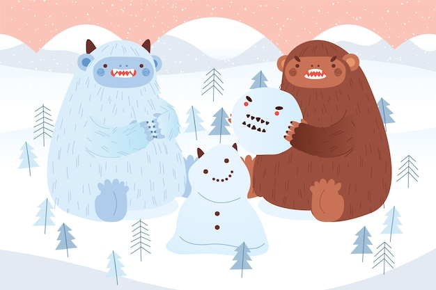 Hand drawn bigfoot sasquatch and yeti abominable snowman illustration