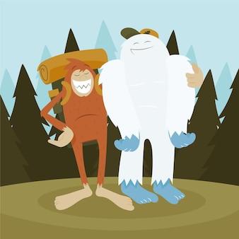 Illustrazione disegnata a mano del pupazzo di neve di bigfoot sasquatch e yeti adominable