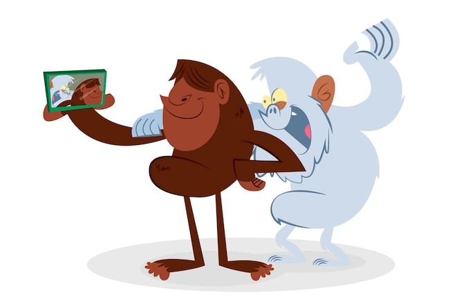手绘的大脚野人和雪人可爱的插图