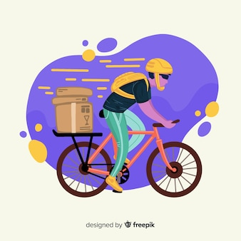 手描き自転車配達概念図