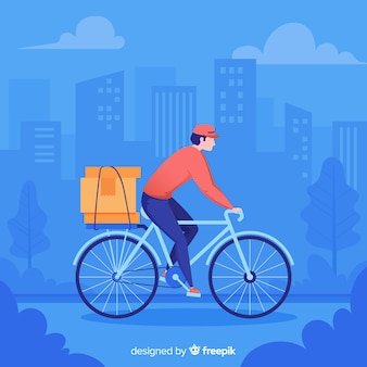 Hand drawn bike delivery concept illustration