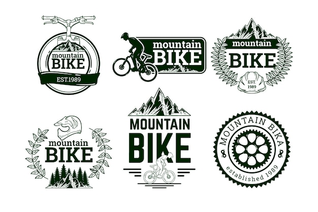 Hand-drawn bike logo collection