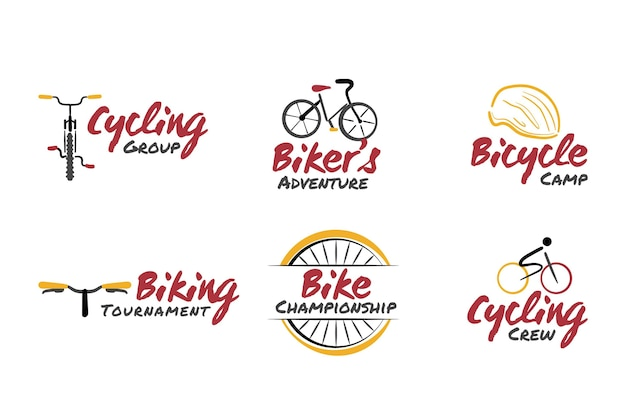 Hand drawn bike logo collection