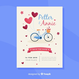Hand drawn bike wedding invitation template