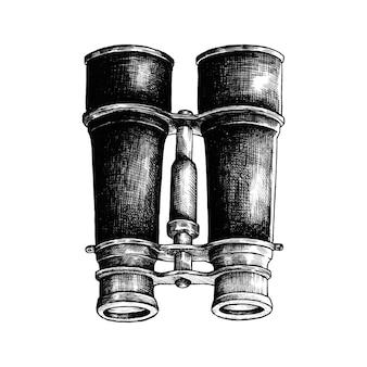 Binocolo disegnato a mano isolato su sfondo bianco