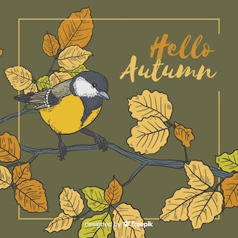 Hand drawn bird autumn background
