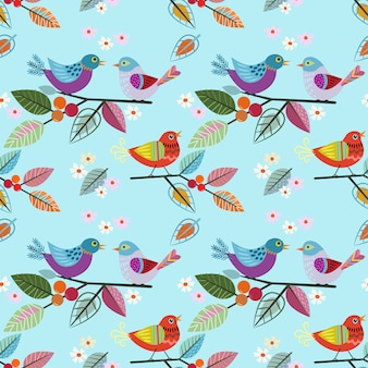 Hand drawn bird on branch pattern.