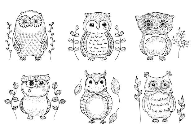 Коллекция рисованной птицы