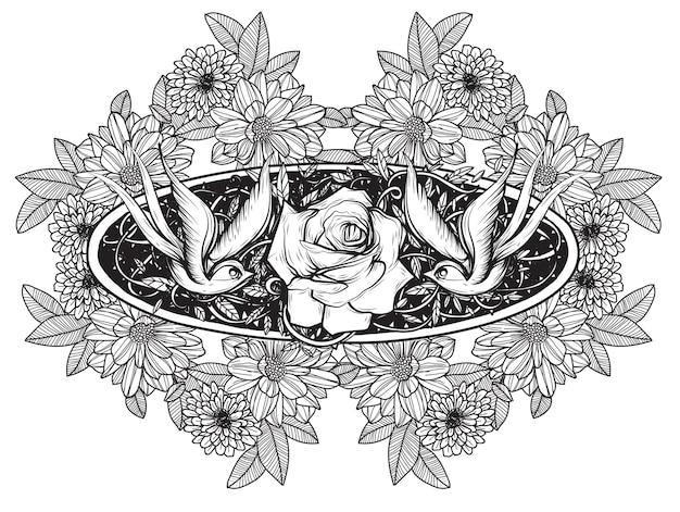 Hand drawn bird and rose tattoo monochrome.