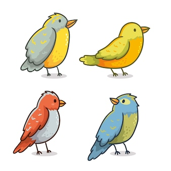 Hand drawn bird set