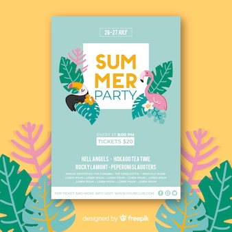 Hand drawn birds summer party poster