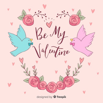 Hand drawn birds valentine's day background