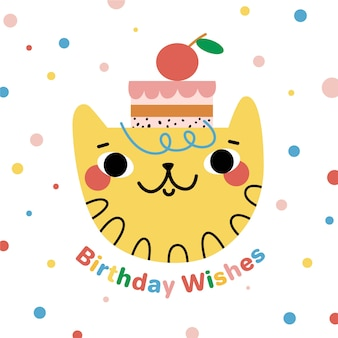 Hand drawn birthday background and cat