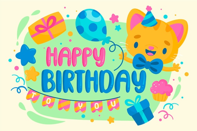 Hand drawn birthday background cute smiley kitten