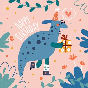 Hand drawn birthday background and dinosaur