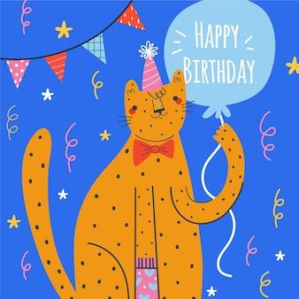 Hand drawn birthday background orange cat