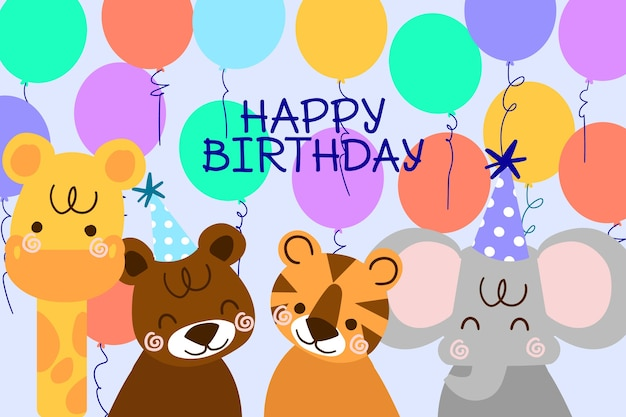 Hand drawn birthday background with animals and balloons