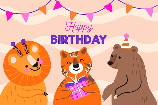 Hand drawn birthday background with animals