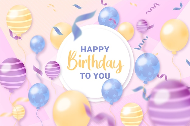 Hand drawn birthday background with balloons