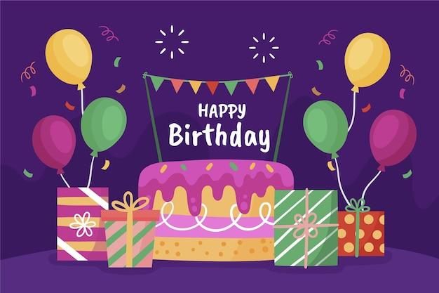 ケーキと手描きの誕生日の背景