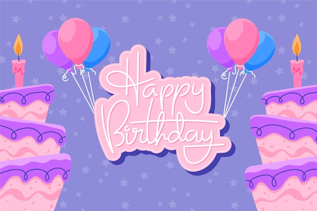 Hand-drawn birthday background with cakes and balloons