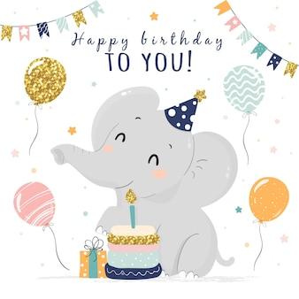 코끼리와 손으로 그린 생일 배경