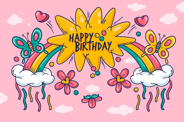 Hand drawn birthday background with rainbow Free Vector