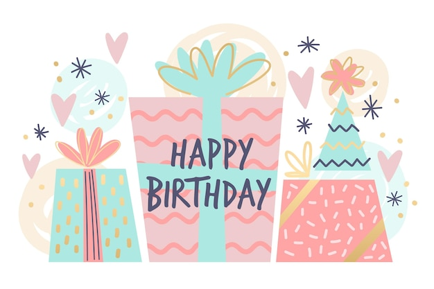 Hand drawn birthday background