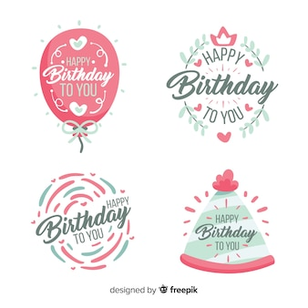 Hand drawn birthday badge set