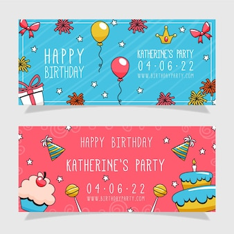 Hand drawn birthday banners design