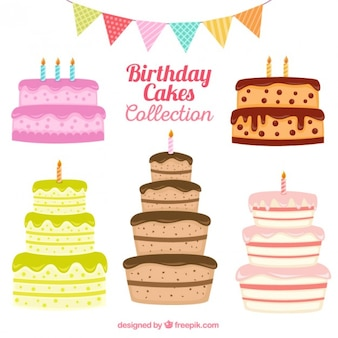 Hand drawn birthday cake collection