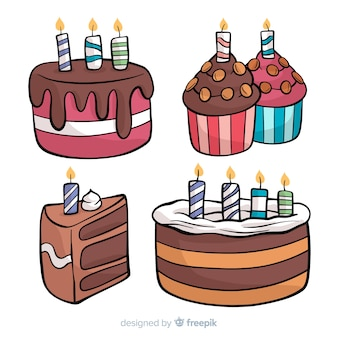 Hand drawn birthday cake collection
