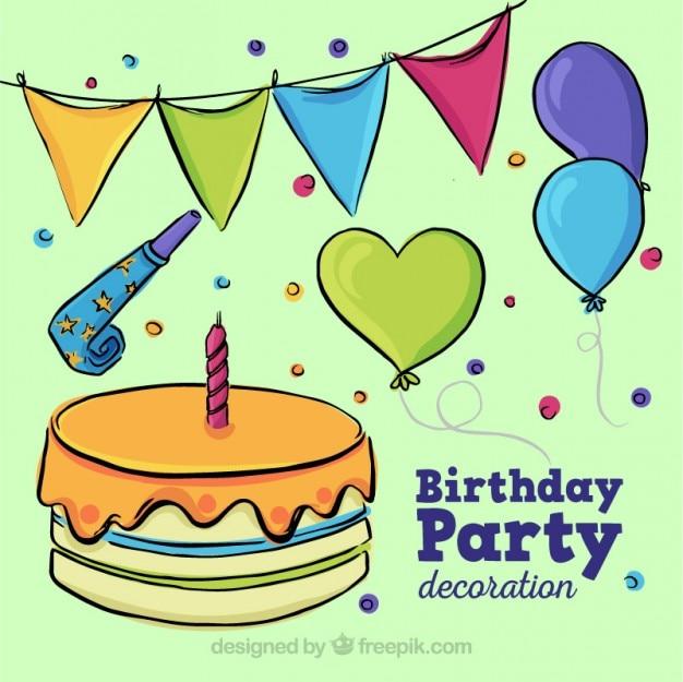 Hand drawn birthday cake with elements decoration